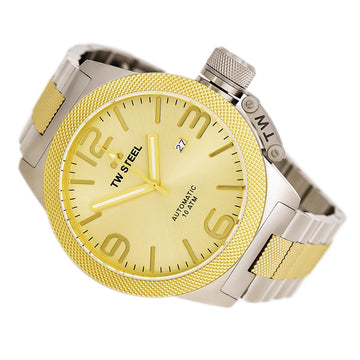 TW Steel CB56 Men's Canteen Bracelet Automatic Two Tone Yellow Gold Steel Gold Sunray Dial Watch