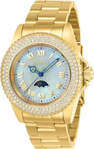 Invicta Women's MOP Dial Yellow Gold Steel Watch - Sea Base Quartz Crystal | 23830