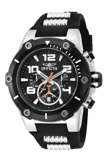 Invicta Men's Chronograph Watch - Speedway Black Dial Black Silicone Strap | 19526