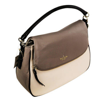 Kate Spade PXRU5154-172 Cobble Hill Devin Warm Putty & Black Leather Women's Crossbody Shoulder Bag