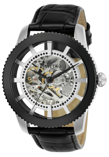 Invicta 23637 Men's Vintage Silver Semi-Skeleton Dial Black Leather Strap Automatic Watch