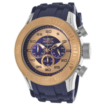 Invicta 14981 Men's Blue Silicone Band Quartz Pro Diver Blue-Rose Gold Dial Watch