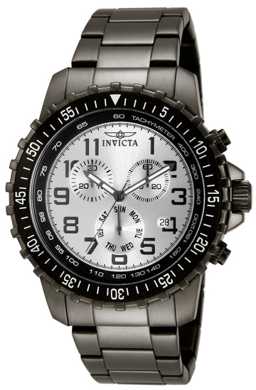 Invicta Men's Specialty Pilot Chronograph Watch - Silver Dial Gunmetal Ion Plated