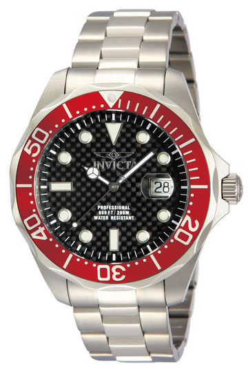 Invicta 12565 Men's Grand Diver Black Carbon Fiber Dial Red Bezel Stainless Steel Bracelet Dive Watch