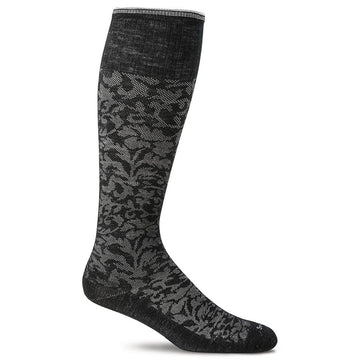 Sockwell Women's Knee High Socks - Damask Graduated Compression, Black | SW16W