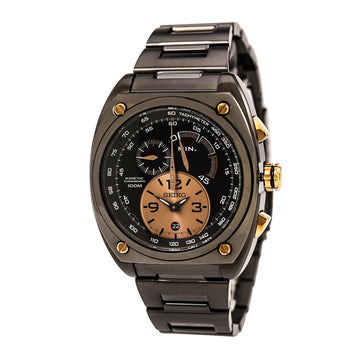 Seiko SNL071 Men's Kinetic Chronograph Black Ion Plated Steel Bracelet Black Dial Date Watch