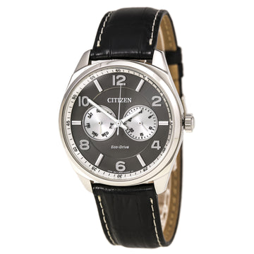 Citizen Men's Leather Strap Watch - Classic Dress Eco-Drive Grey Dial | AO9020-17H