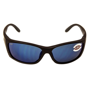 Costa Del Mar FS11GFOBMP Men's Fisch X-Large Polarized Plastic 580P Blue Mirror Lens Matte Black Frame Sunglasses