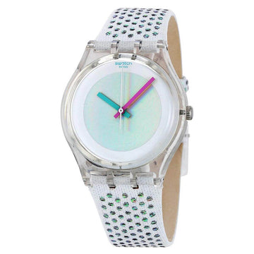 Swatch GE246 Unisex White Rave Fabric & Leather Strap Watch
