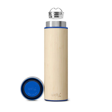 Welly Water Bottle - Wide Mouth Vacuum Insulated Stainless Steel Bamboo, 18oz
