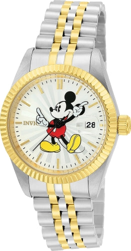 Invicta 22776 Women's Two Tone Yellow Steel Quartz Disney Edition Silver Dial Date Watch