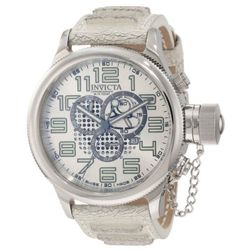 Invicta 10554 Men's Leather Strap Swiss Quartz Russian Diver Chrono Silver Dial Day-Date Watch