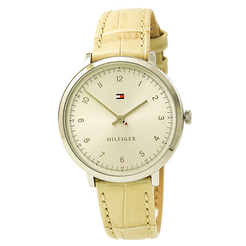 Tommy Hilfiger 1781765 Women's Ultra Slim Sport Silver Dial Beige Leather Watch