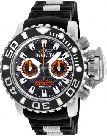 Invicta 20472 Men's Sea Hunter Black Dial Steel & Silicone Strap Chronograph Dive Watch