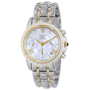 Seiko SSC892 Women's Le Grand Sport Solar Chronograph MOP Dial Two Tone Steel Diamond Watch