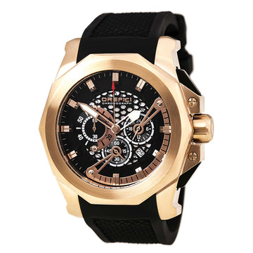 Orefici ORM2C4805 Men's Gladiatore Chrono Rose Gold Steel Black Rubber