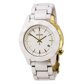 Nixon A2881035 Women's The Monarch White Acetate Bracelet Quartz White Dial Date Watch