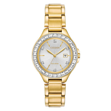 Citizen Women's Bracelet Watch - Silhouette Crystal Yellow Gold Steel | FE1192-58A