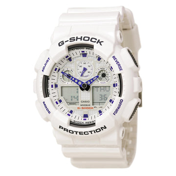 Casio GA100-7 Men's G-Shock Alarm Ana-Digi White Dial White Resin Strap Dive Watch