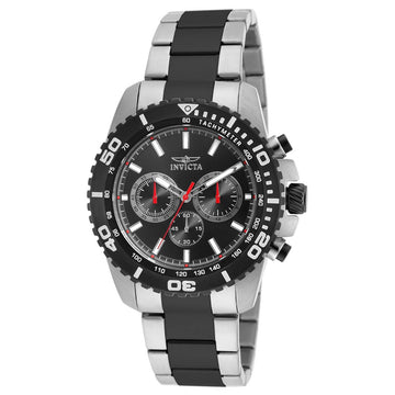 Invicta 19844 Men's Pro Diver Black Dial Two Tone Bracelet Chronograph Watch