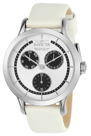 Invicta 22493 Women's Angel Silver & Black Dial White Leather Strap Watch