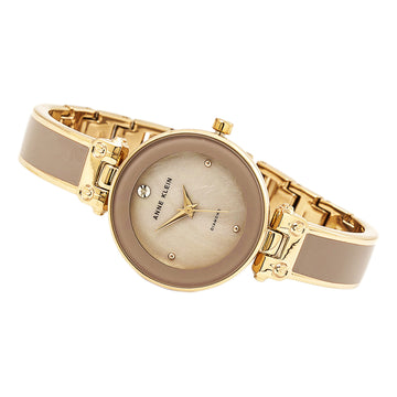 Anne Klein 1980TPRG Women's Quartz Steel Bracelet Grey Dial Diamond Watch