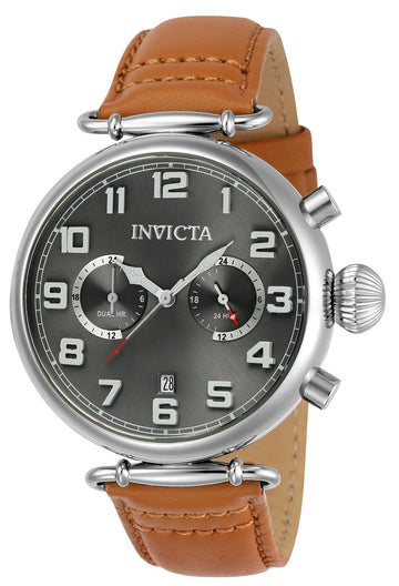 Invicta 22980 Men's Aviator Grey Dial Tan Leather Strap Quartz Watch