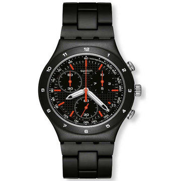 Swatch Unisex Chronograph Watch - Camouflage Black Coat Aluminum | YCB4019AG