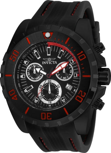 Invicta Men's Chronograph Watch - Pro Diver Black Dial Black Rubber Strap | 24922