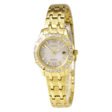 Citizen Women's Diamond Watch - Eco Drive Silver Dial Yellow Gold Steel | EW2362-55A