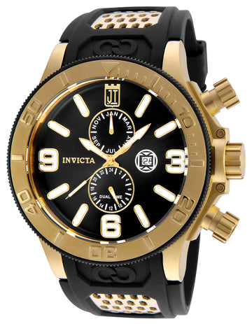 Invicta 25187 Men's Jason Taylor Black Dial Yellow Gold Steel Polyurethane Strap Dive Watch