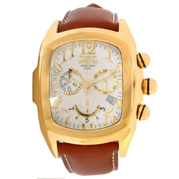Invicta 13693 Men's Brown Leather Strap Swiss Quartz Lupah Chrono Silver Dial Date Watch
