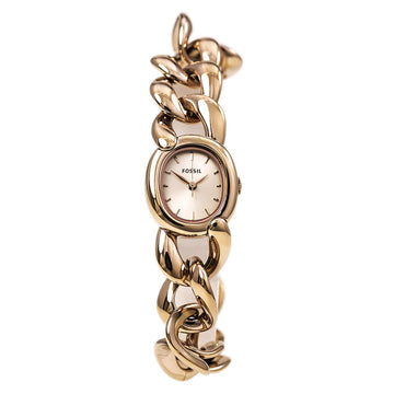 Fossil Women's Rose Gold Steel Watch - Curator Quartz Chain Bracelet Rose Gold Dial