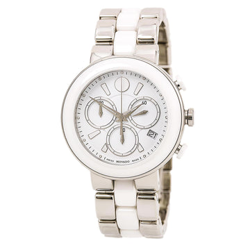Movado 0606758 Women's Cerena Steel & Ceramic Bracelet Chronograph