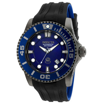 Invicta 20204 Men's Grand Diver Blue Dial Gunmetal IP Steel Black & Blue Strap Automatic Dive Watch
