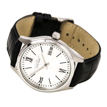 Caravelle 43B143 Men's Dress Silver Dial Black Leather Strap Watch