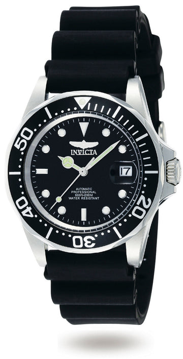Invicta Men's Automatic Watch - Pro Diver Black Polyurethane Strap Black Dial | 9110