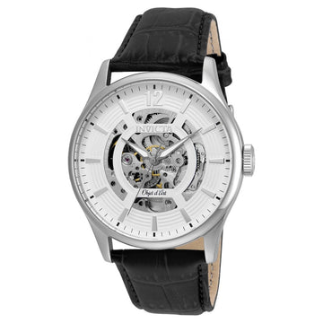 Invicta 22594 Men's Objet D Art White & Silver Skeleton Dial Black Leather Strap Automatic Watch