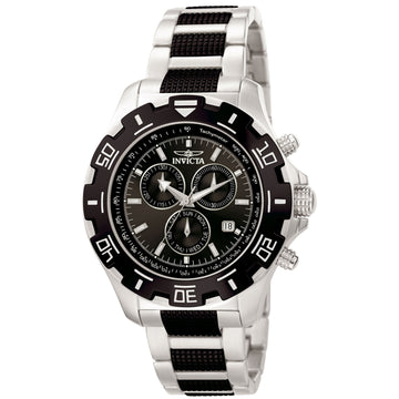 Invicta 6407 Men's Two Tone Black Bracelet Swiss Quartz Python Chrono Black Dial Day-Date Watch