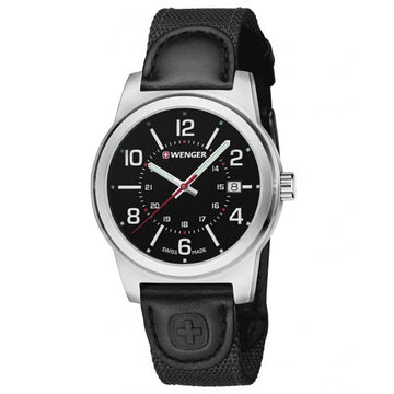Wenger 01.0441.164 Men's Field Classic Black Canvas & Leather Strap Black Dial Date Watch