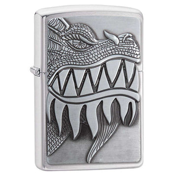 Zippo Windproof Pocket Lighter - Fire Breathing Brushed Chrome | 28969