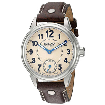 Bulova Accu-Swiss 63A121 Men's Gemini Beige Dial Brown Leather Strap Mechanical Watch