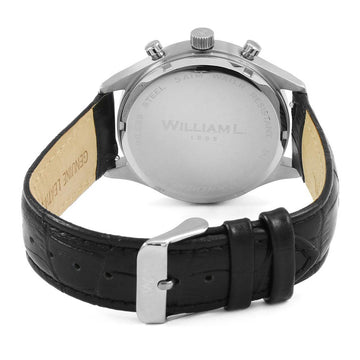William L. 1985 WLAC02GOCN Men's Small Chronographs Vintage Style Silver Dial Black Strap Watch