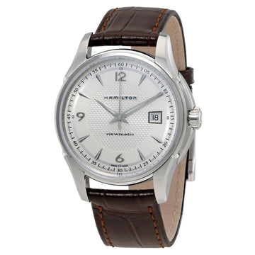 Hamilton H32515555 Men's Brown Strap Swiss Automatic JazzMaster Viewmatic Silver Dial Date Watch