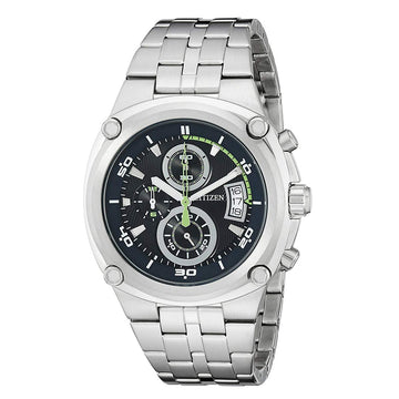 Citizen Men's Chronograph Watch - Quartz Black Dial Steel Bracelet | AN3450-84L