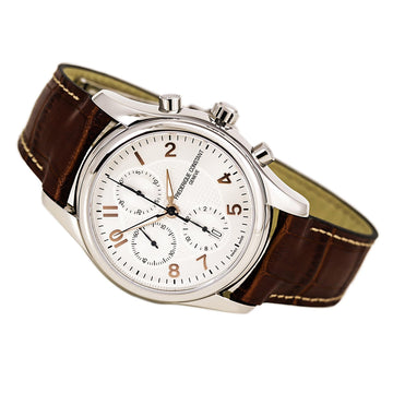 Frederique Constant 392RV6B6 Men's Brown Band Swiss Automatic Runabout Chrono Silver Dial Date Watch