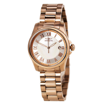 Invicta Women's Mother of Pearl Dial Watch - Angel Quartz Rose Gold Bracelet | 15237