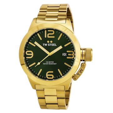 TW Steel CB222 Men's Canteen Bracelet Quartz Green Dial Yellow Gold Plated Steel Date Watch