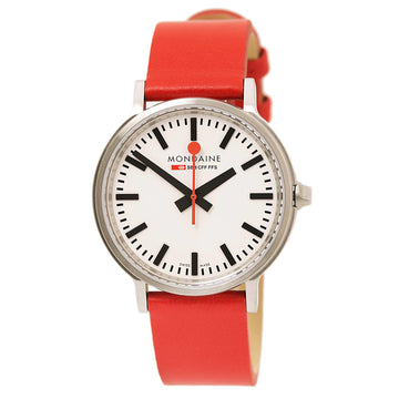 Mondaine A512.30358.16SBC Men's Stop2go Red Leather Strap White Dial
