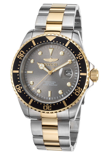 Invicta 22057 Men's Two Tone Yellow Steel Bracelet Quartz Pro Diver Grey Dial Date Watch